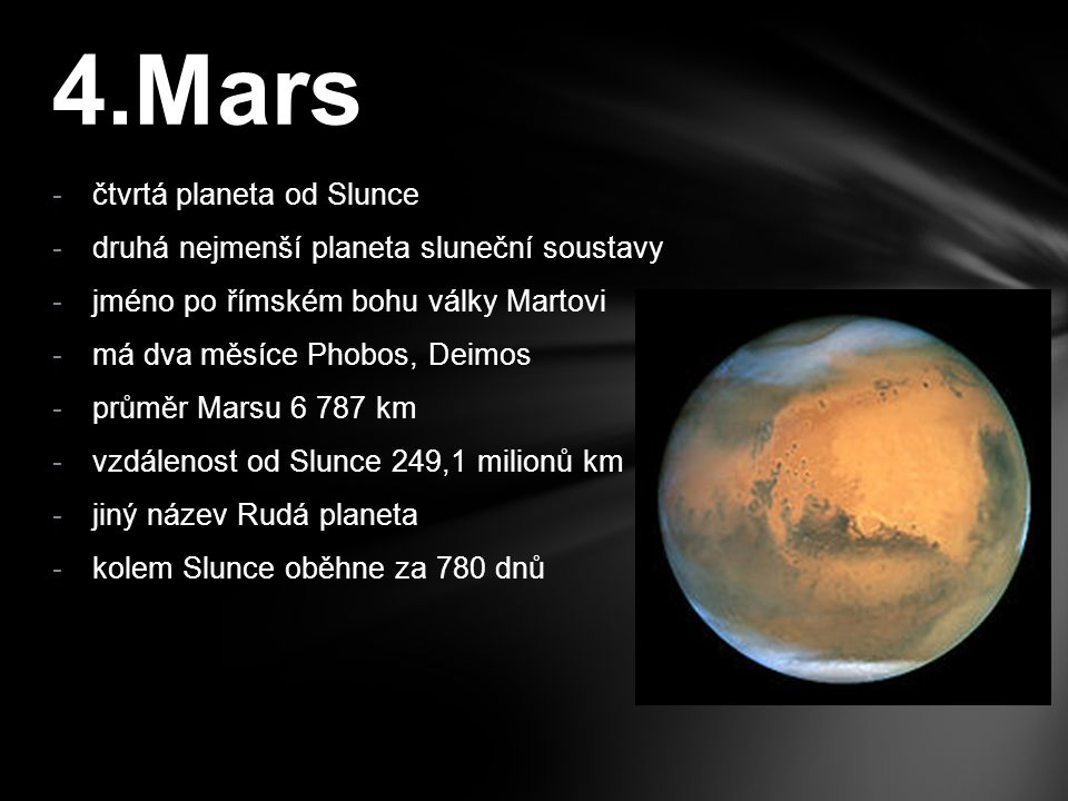 4.Mars čtvrtá planeta od Slunce