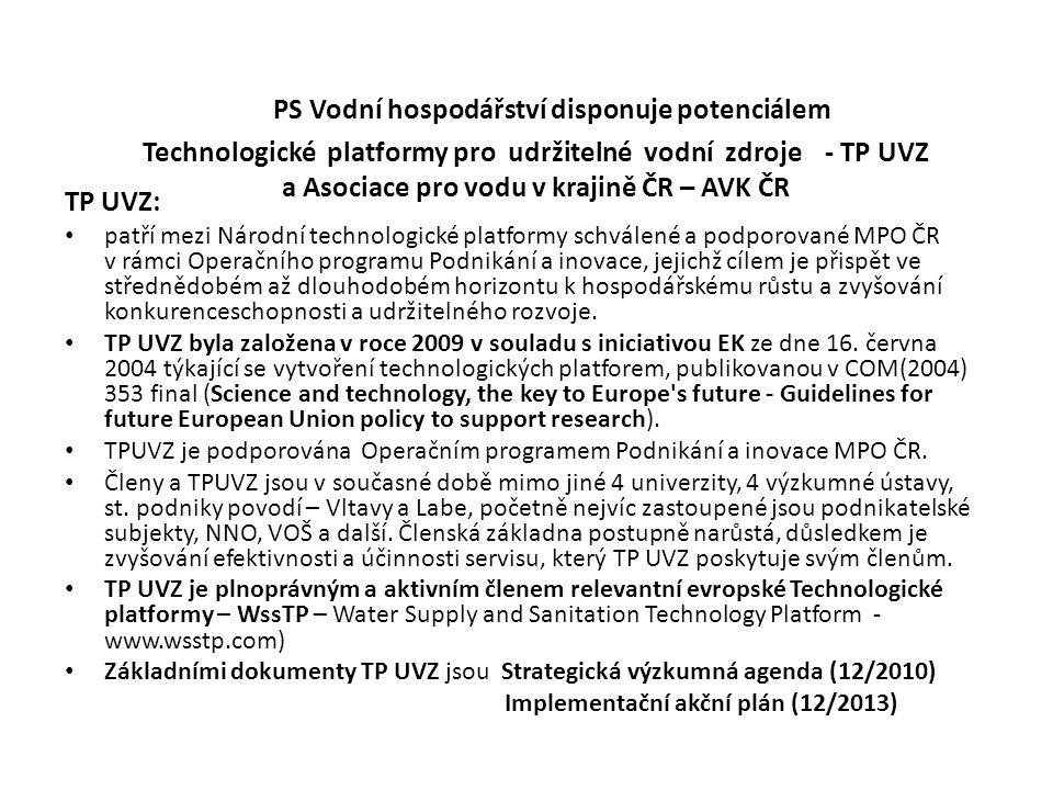 PS Vodní hospodářství disponuje potenciálem Technologické platformy pro udržitelné vodní zdroje - TP UVZ a Asociace pro vodu v krajině ČR – AVK ČR