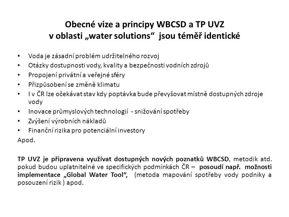"""Obecné vize a principy WBCSD a TP UVZ v oblasti """"water solutions jsou téměř identické"""