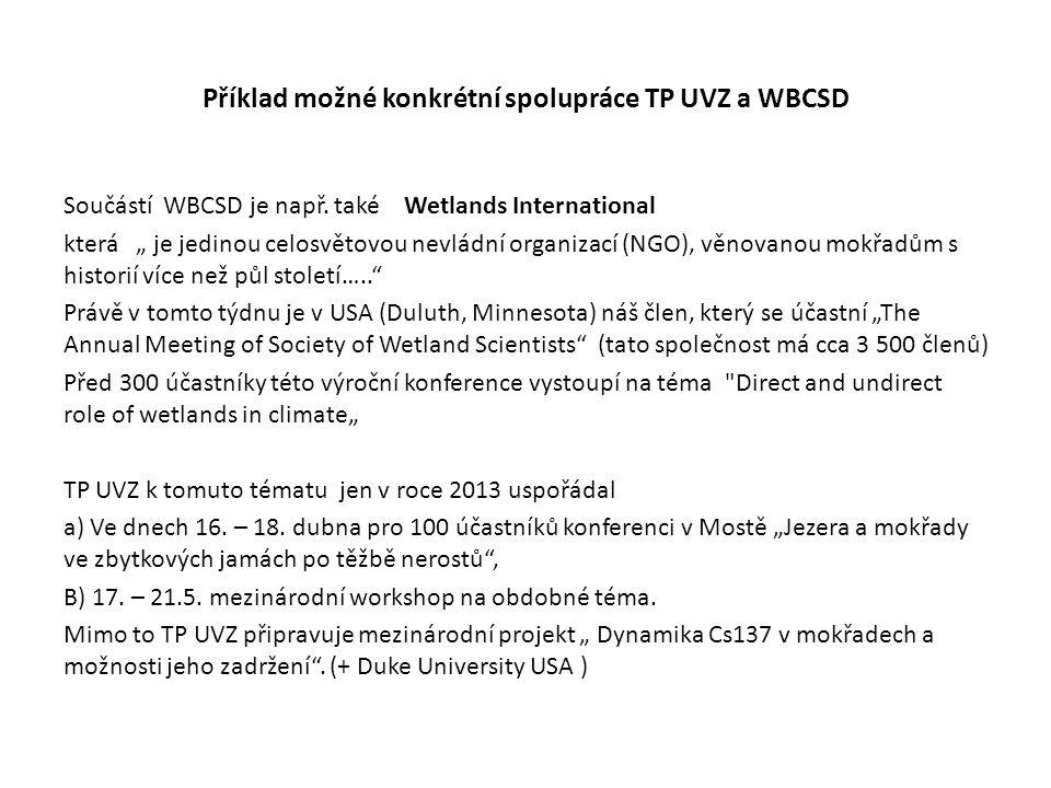 Příklad možné konkrétní spolupráce TP UVZ a WBCSD