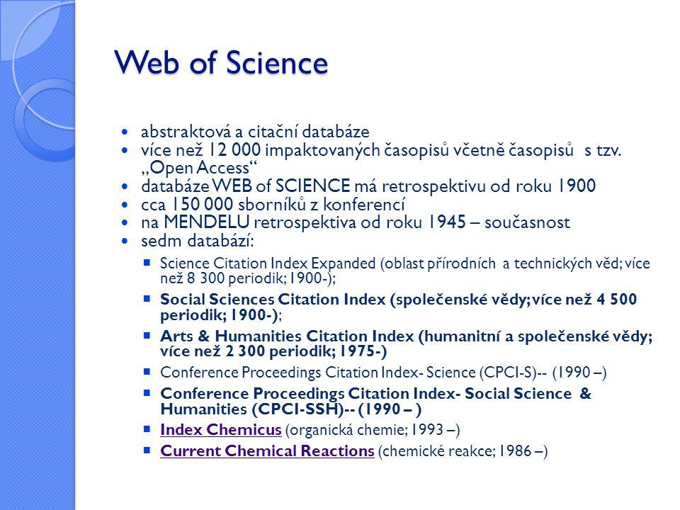 Web of Science abstraktová a citační databáze