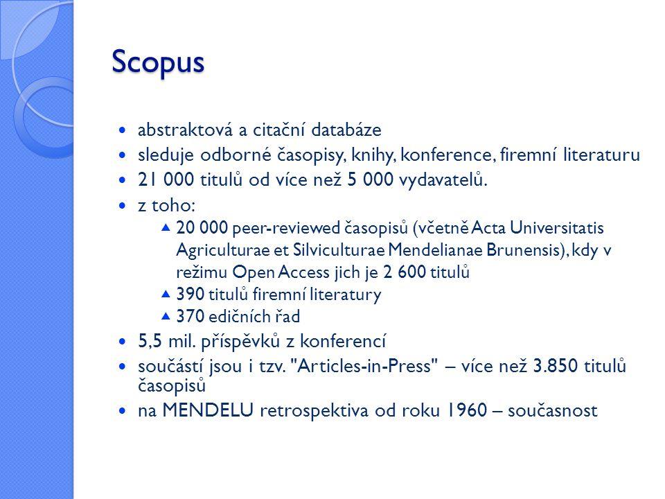 Scopus abstraktová a citační databáze
