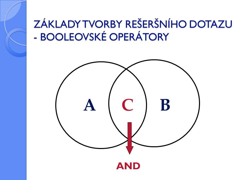 ZÁKLADY TVORBY REŠERŠNÍHO DOTAZU - BOOLEOVSKÉ OPERÁTORY