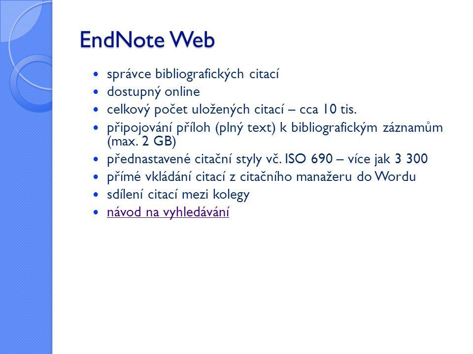 EndNote Web správce bibliografických citací dostupný online