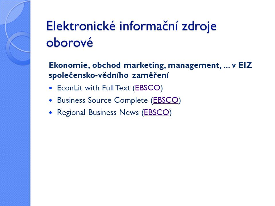 Elektronické informační zdroje oborové