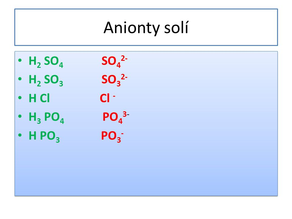Anionty solí H2 SO4 SO42- H2 SO3 SO32- H Cl Cl - H3 PO4 PO43-