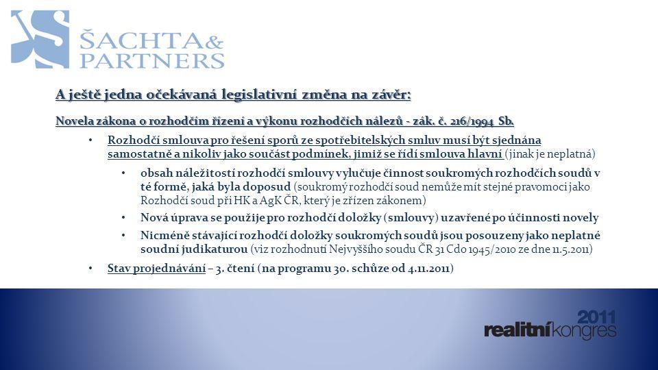 A ještě jedna očekávaná legislativní změna na závěr: