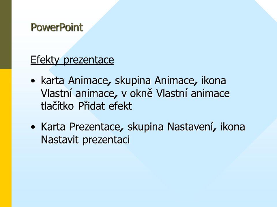 PowerPoint Efekty prezentace. karta Animace, skupina Animace, ikona Vlastní animace, v okně Vlastní animace tlačítko Přidat efekt.