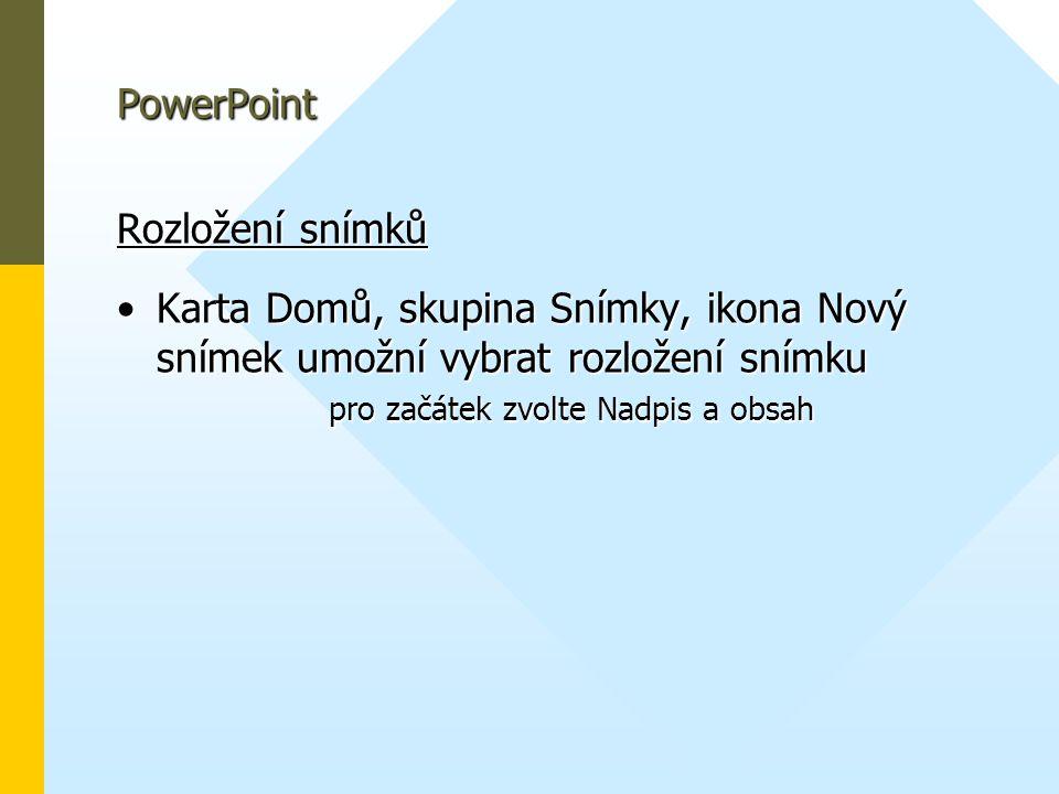 PowerPoint Rozložení snímků.