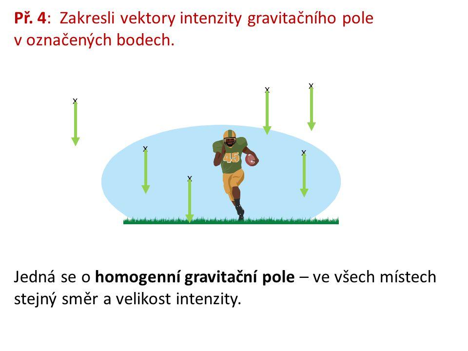 Př. 4: Zakresli vektory intenzity gravitačního pole v označených bodech.