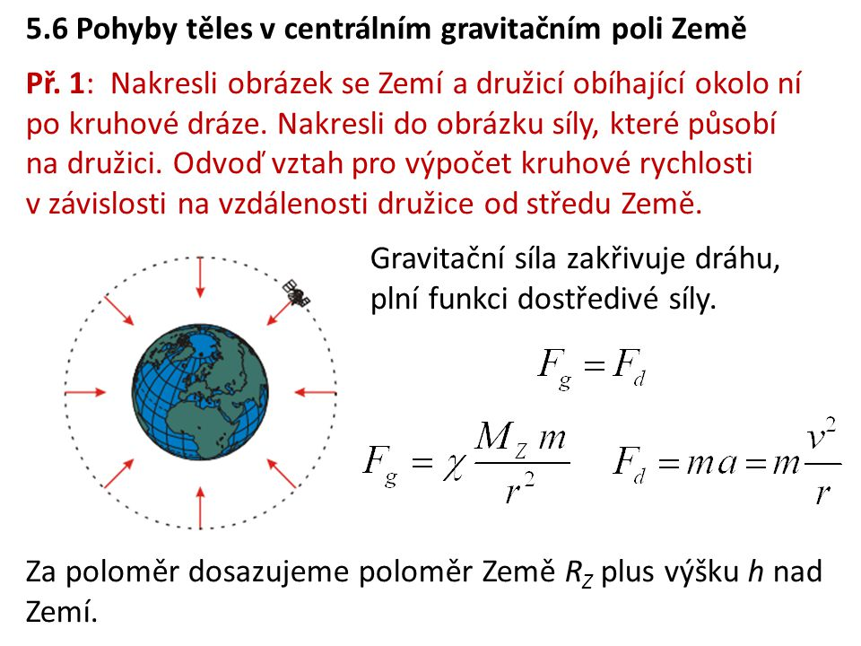 5.6 Pohyby těles v centrálním gravitačním poli Země
