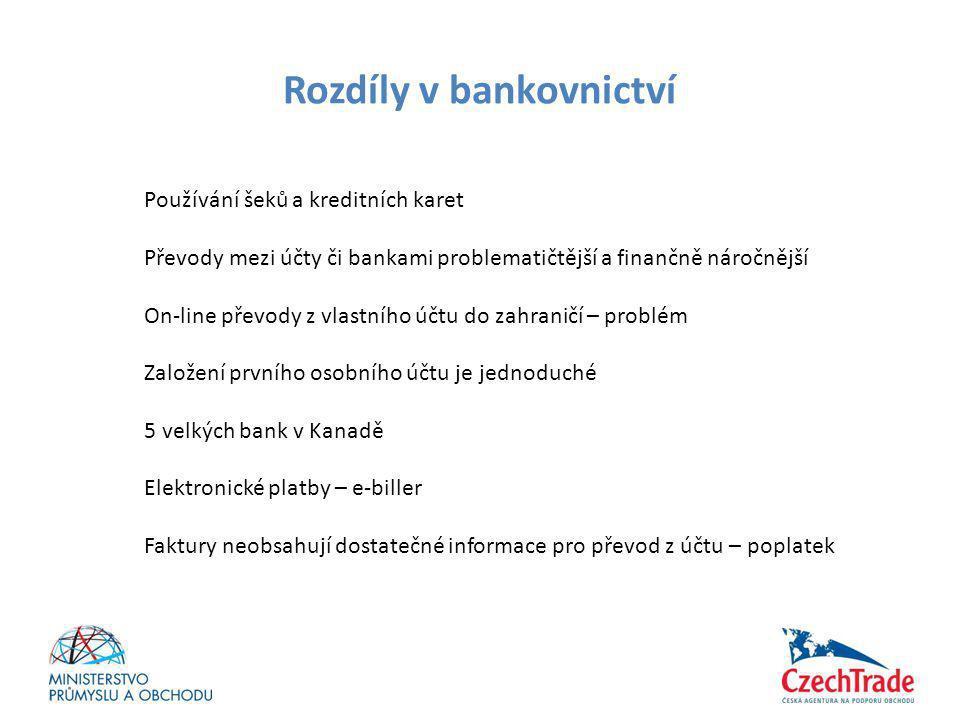 Rozdíly v bankovnictví