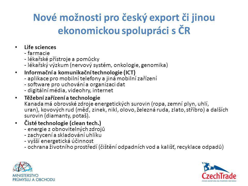 Nové možnosti pro český export či jinou ekonomickou spolupráci s ČR