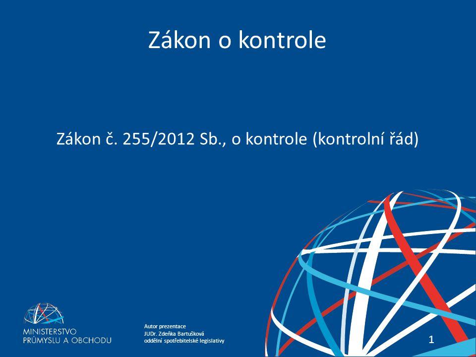 Zákon č. 255/2012 Sb., o kontrole (kontrolní řád)
