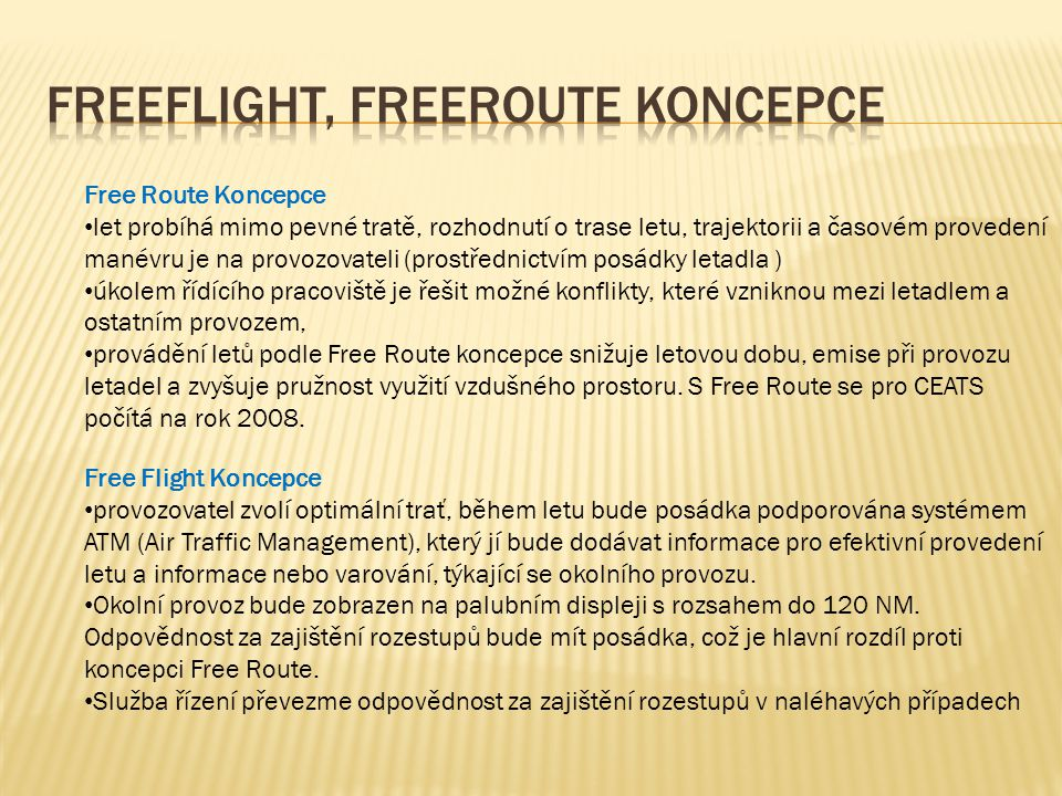 Freeflight, freeroute koncepce