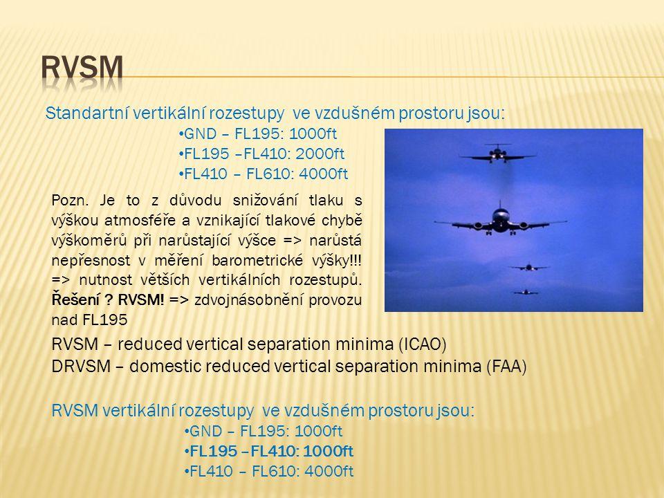 RVSM Standartní vertikální rozestupy ve vzdušném prostoru jsou: