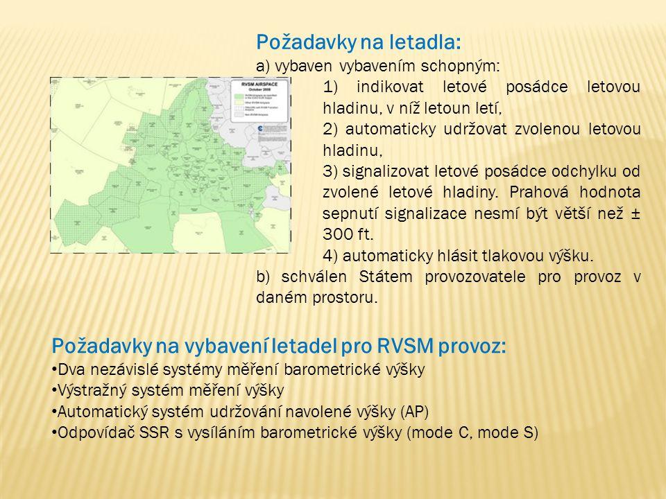 Požadavky na vybavení letadel pro RVSM provoz:
