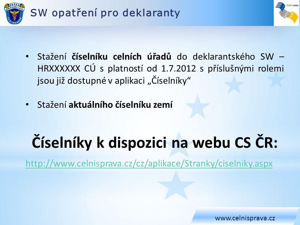 Číselníky k dispozici na webu CS ČR: