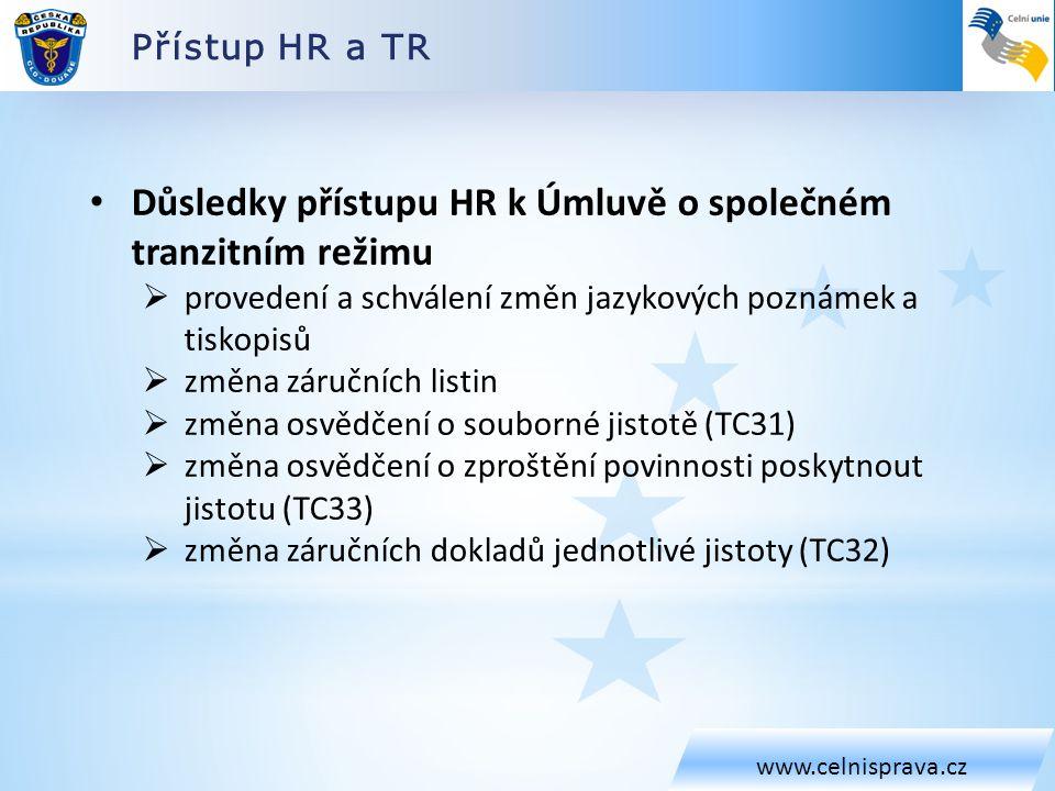 Důsledky přístupu HR k Úmluvě o společném tranzitním režimu