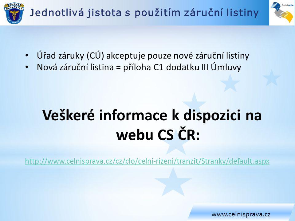 Veškeré informace k dispozici na webu CS ČR: