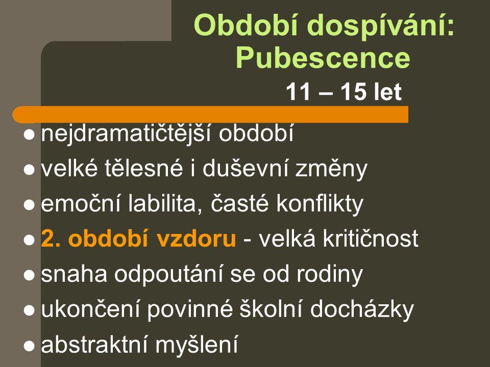 Období dospívání: Pubescence 11 – 15 let