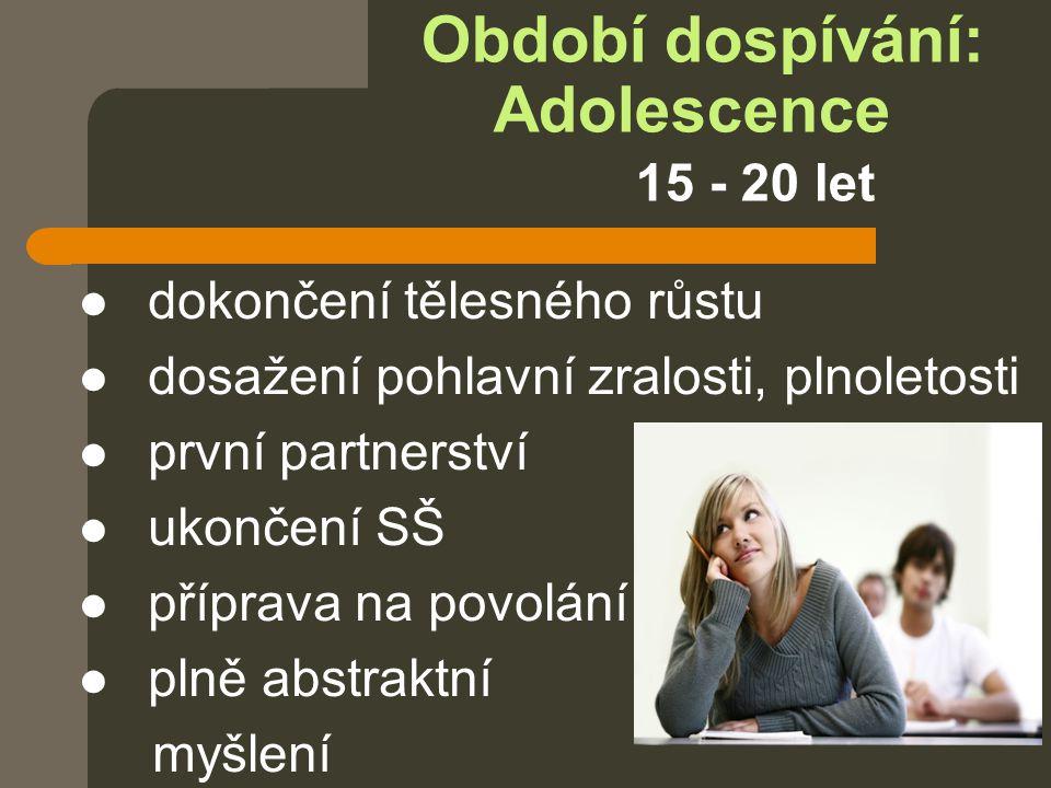 Období dospívání: Adolescence 15 - 20 let