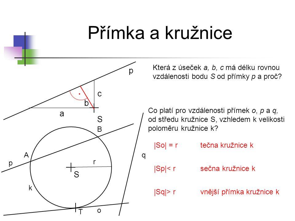 Přímka a kružnice p . c b a S S
