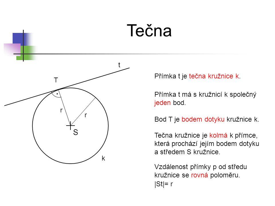 Tečna . S t Přímka t je tečna kružnice k. T