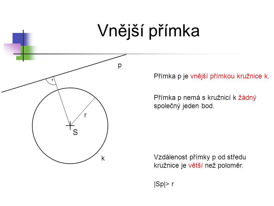 Vnější přímka . S p Přímka p je vnější přímkou kružnice k.