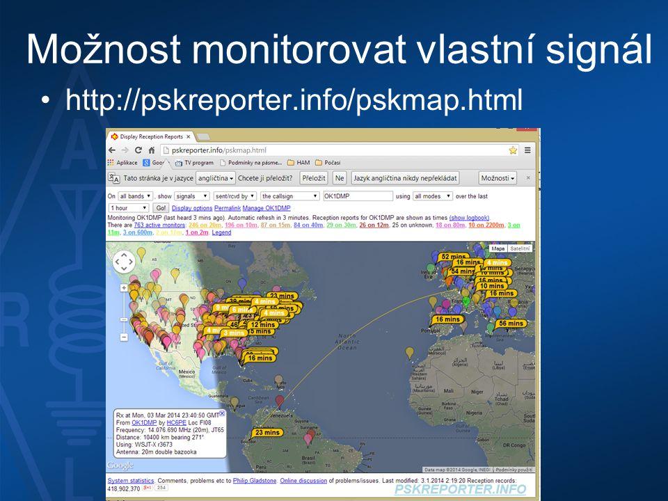 Možnost monitorovat vlastní signál