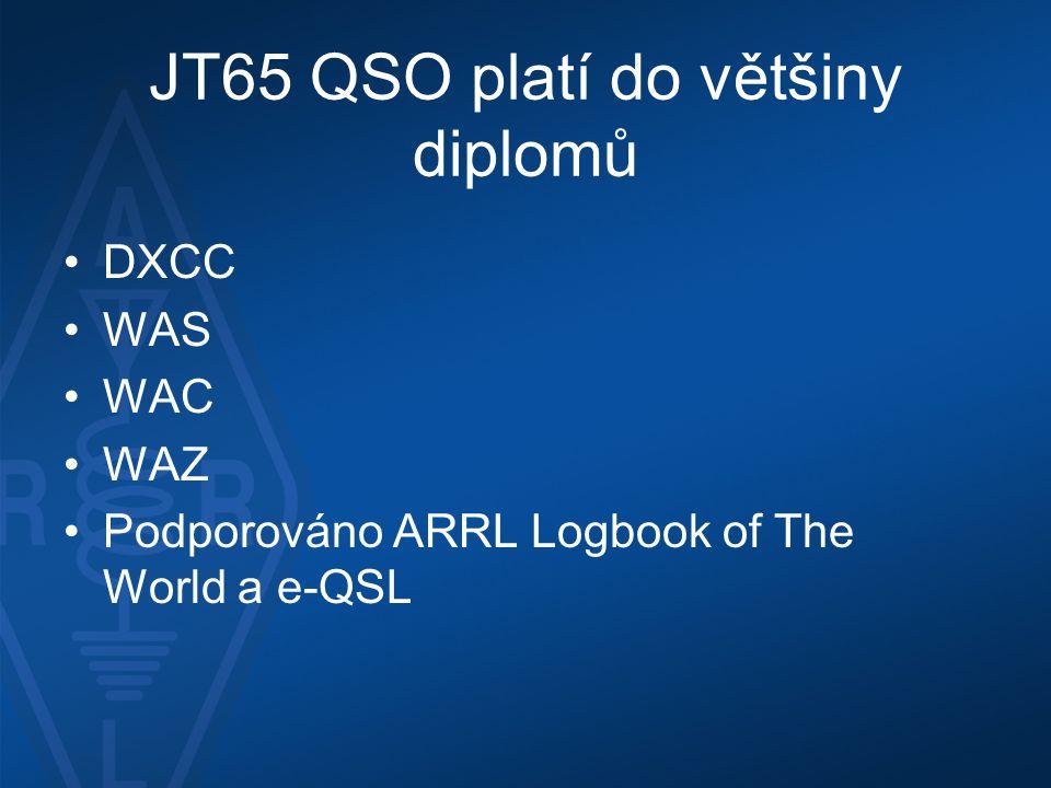 JT65 QSO platí do většiny diplomů
