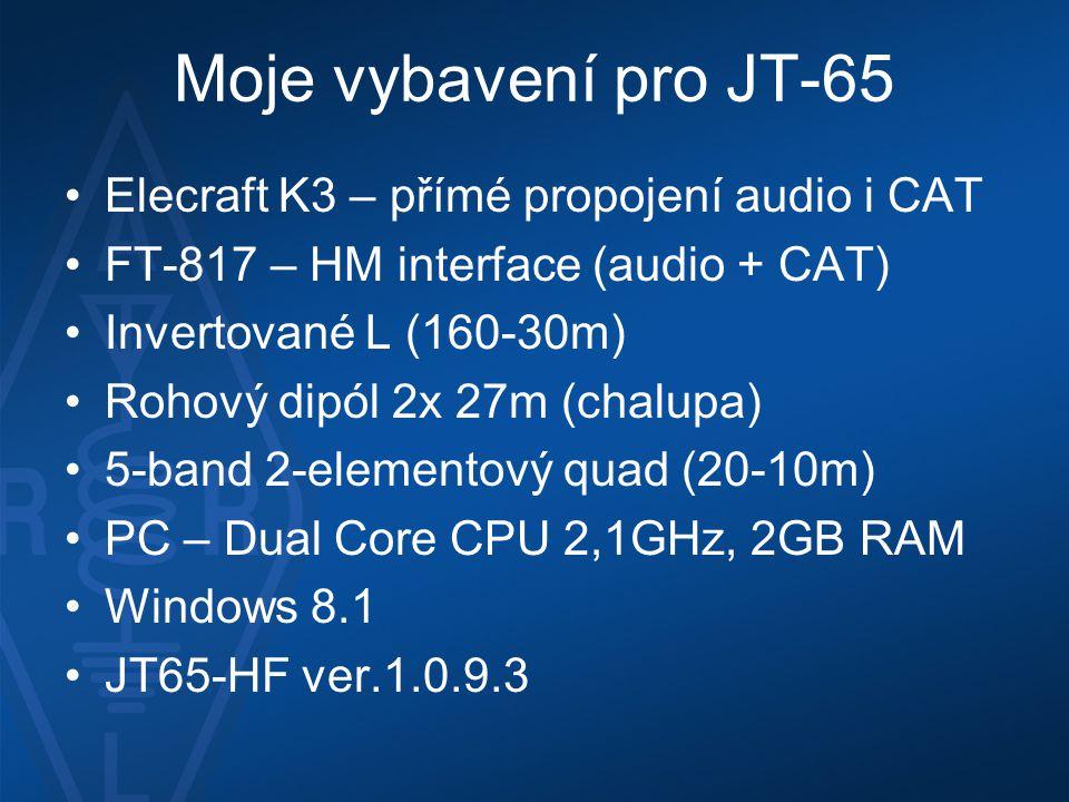 Moje vybavení pro JT-65 Elecraft K3 – přímé propojení audio i CAT