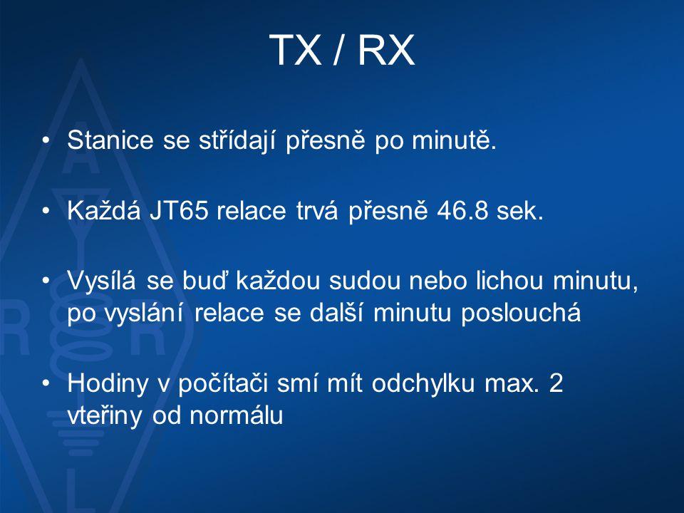 TX / RX Stanice se střídají přesně po minutě.