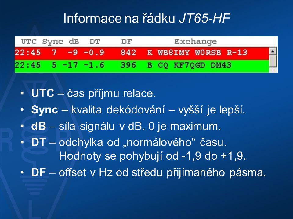 Informace na řádku JT65-HF