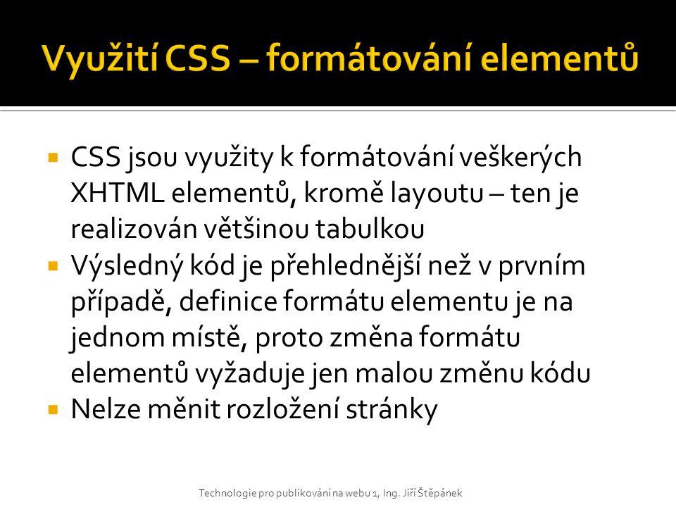 Využití CSS – formátování elementů