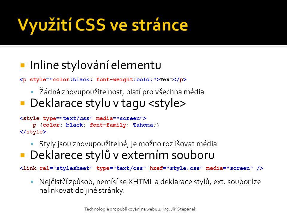 Využití CSS ve stránce Inline stylování elementu