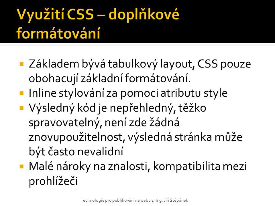 Využití CSS – doplňkové formátování