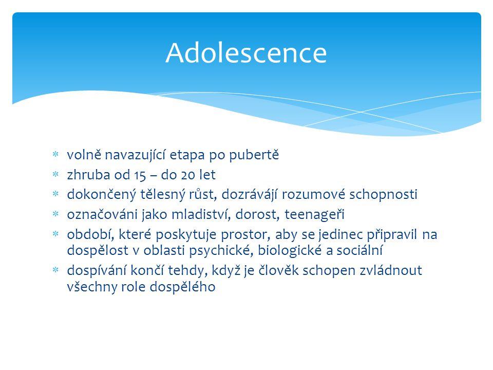 Adolescence volně navazující etapa po pubertě zhruba od 15 – do 20 let