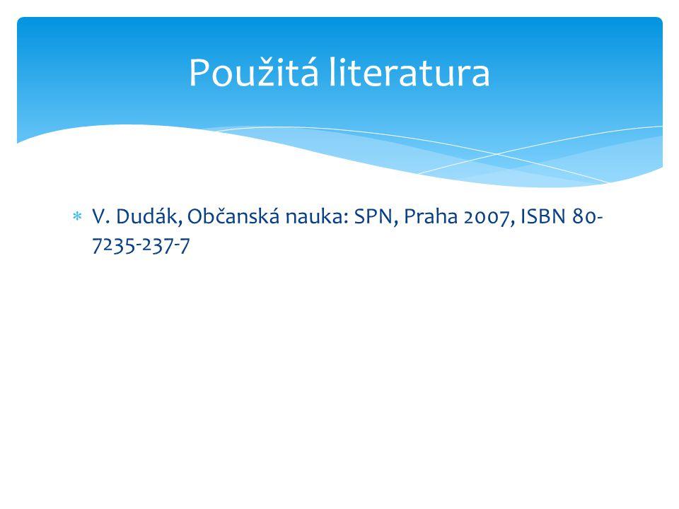 Použitá literatura V. Dudák, Občanská nauka: SPN, Praha 2007, ISBN 80-7235-237-7