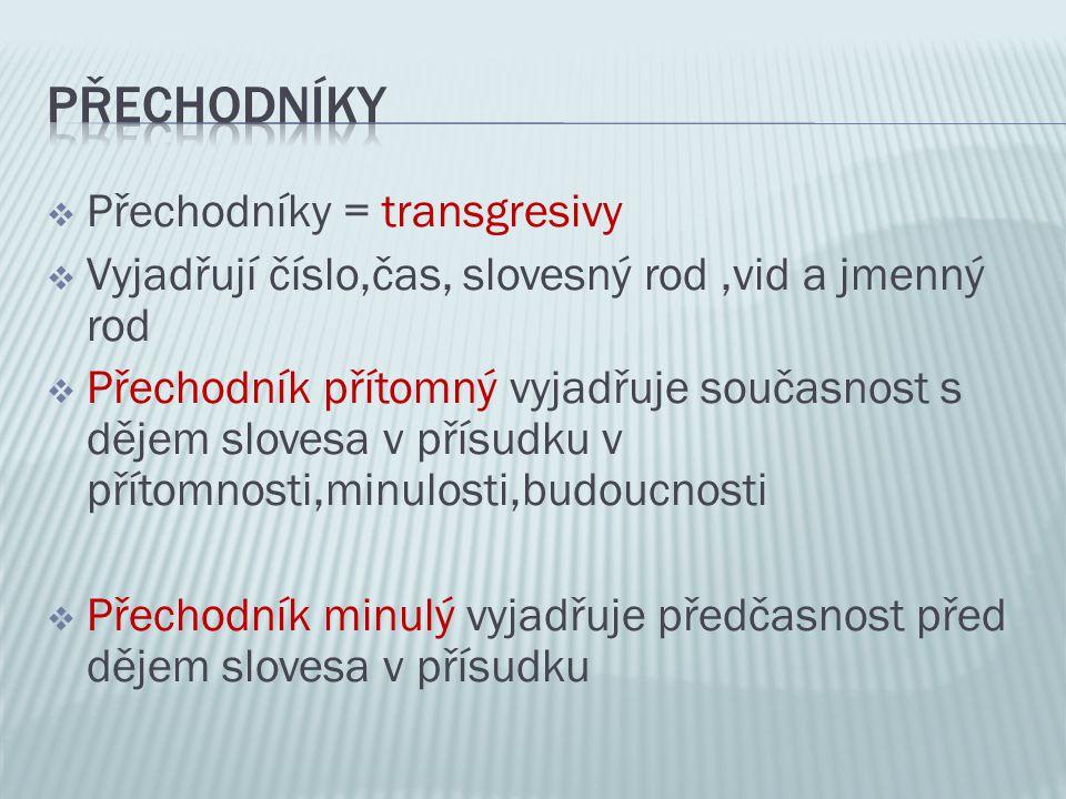 Přechodníky Přechodníky = transgresivy