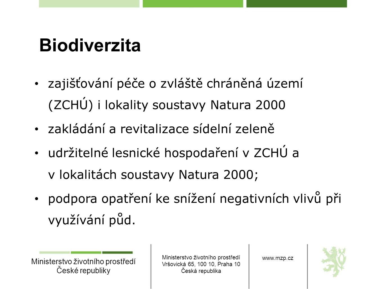 Biodiverzita zajišťování péče o zvláště chráněná území (ZCHÚ) i lokality soustavy Natura 2000. zakládání a revitalizace sídelní zeleně.