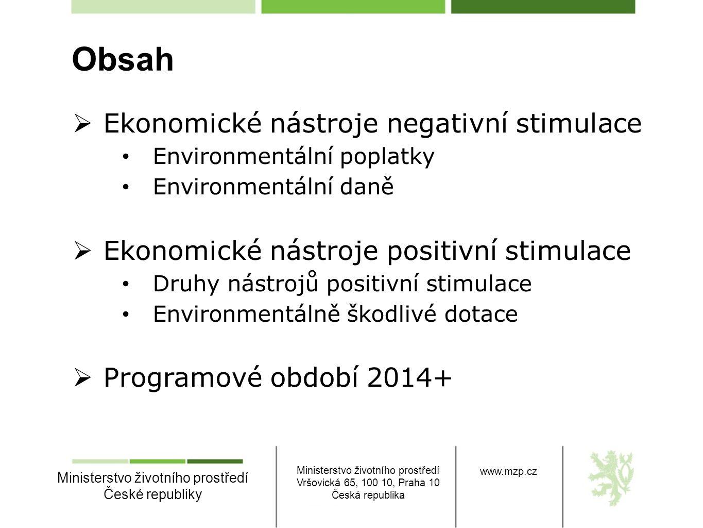Obsah Ekonomické nástroje negativní stimulace