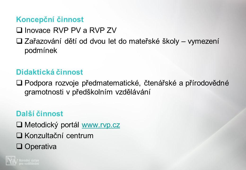 Koncepční činnost Inovace RVP PV a RVP ZV. Zařazování dětí od dvou let do mateřské školy – vymezení podmínek.