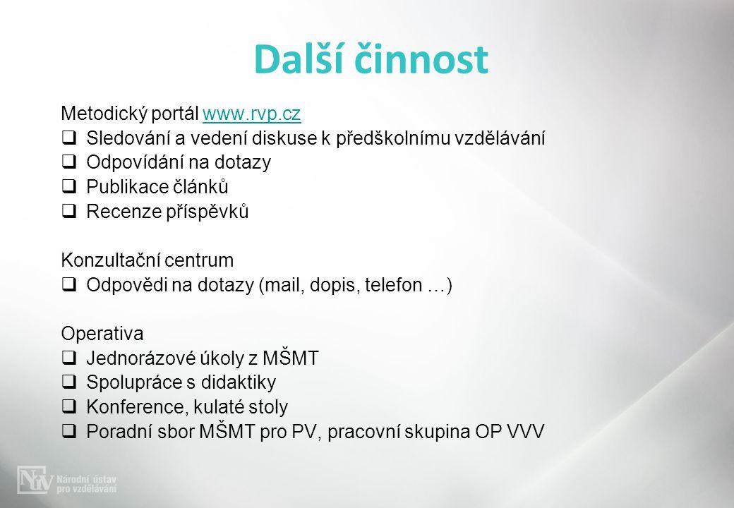 Další činnost Metodický portál www.rvp.cz