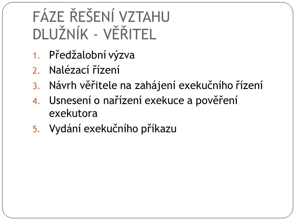 FÁZE ŘEŠENÍ VZTAHU DLUŽNÍK - VĚŘITEL