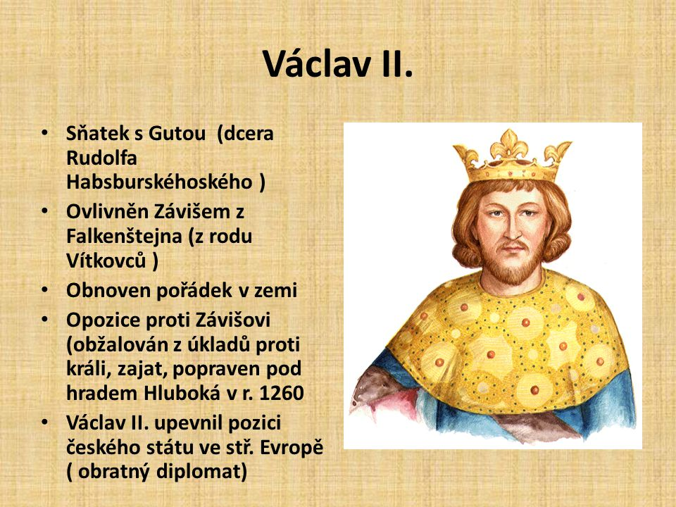 Václav II. Sňatek s Gutou (dcera Rudolfa Habsburskéhoského )