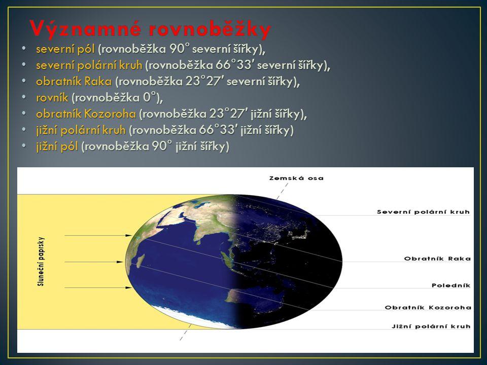 Významné rovnoběžky severní pól (rovnoběžka 90° severní šířky),