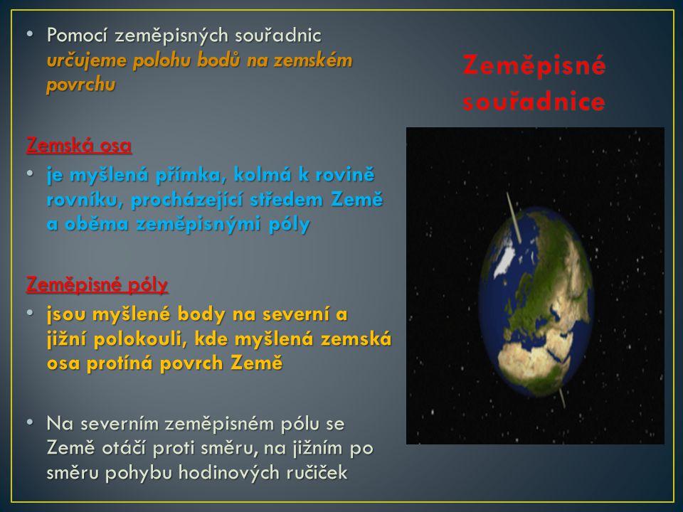 Pomocí zeměpisných souřadnic určujeme polohu bodů na zemském povrchu