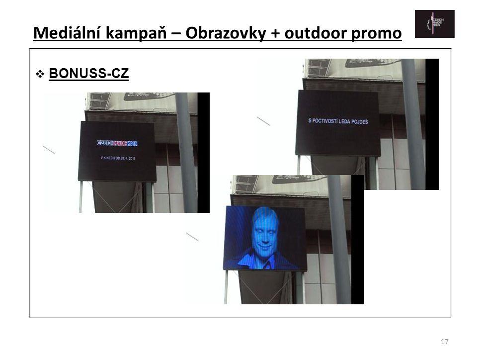 Mediální kampaň – Obrazovky + outdoor promo