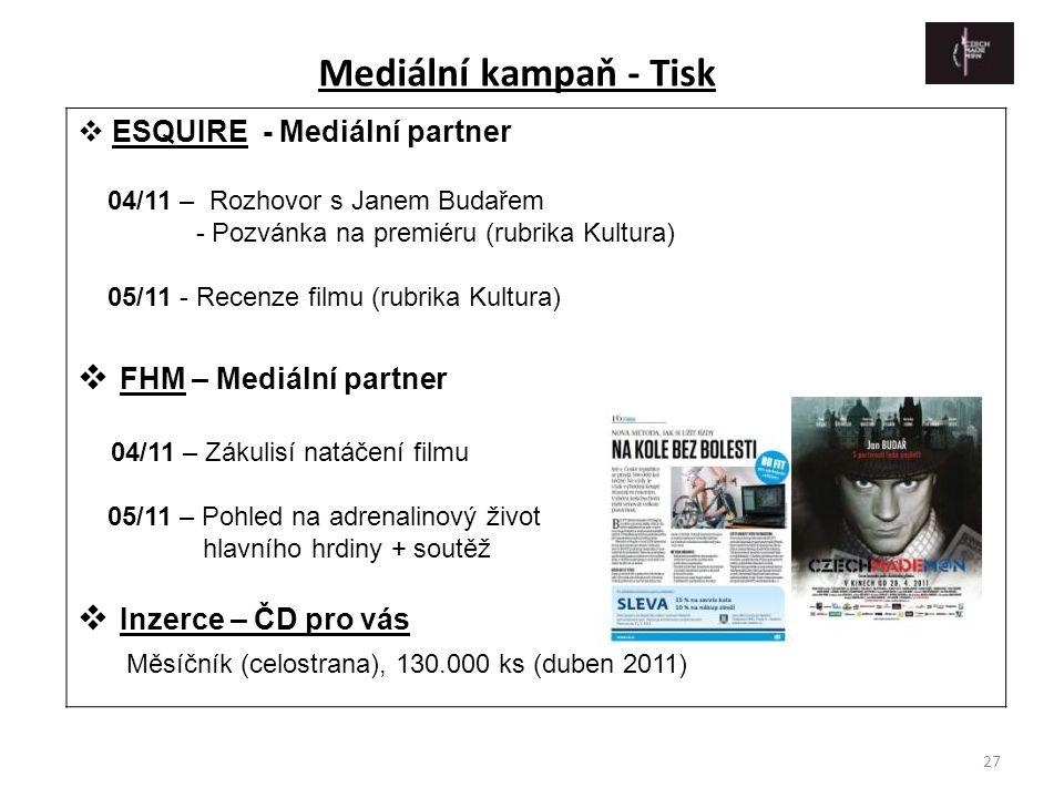 Mediální kampaň - Tisk FHM – Mediální partner Inzerce – ČD pro vás